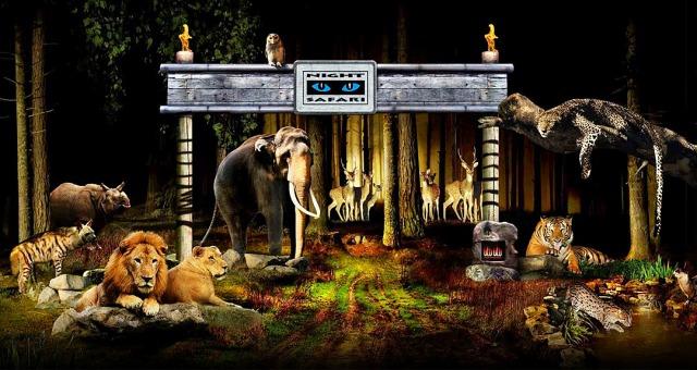 首屈一指的新加坡夜间野生动物园里饲养了110种共计1,200只奇异动物.